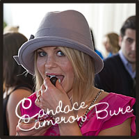 Candace Cameron Bure with best chocolate, best caramel, truffles at the Golden Globe Awards