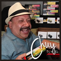 Chuy Bravo enjoying Cocopotamus gluten free chocolate truffles at the Emmys