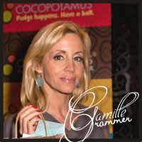Camille Grammer with best chocolate, best caramel, gluten free chocolate truffles at the Golden Globe Awards