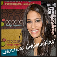 janina gavankar tasting best chocolate best caramel for celebrities at the Golden Globes